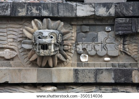 Feathered Serpent at the Temple of Quetzalcoatl, Teotihuacan [Mexico City] - stock photo