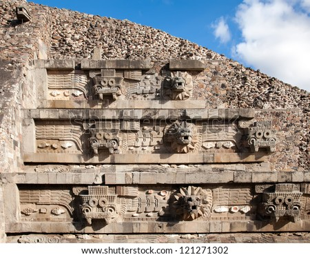 Feathered Serpent Pyramid at Teotihuacan, Mexico - stock photo