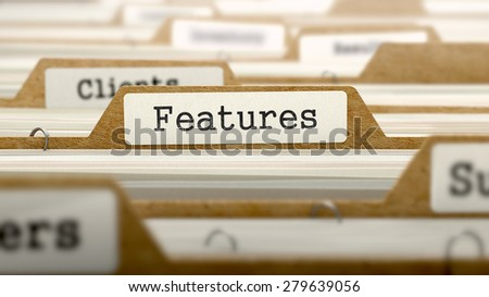 Features Concept. Word on Folder Register of Card Index. Selective Focus. - stock photo