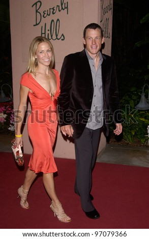 Feb 12, 2005; Beverly Hills, CA: Singer SHERYL CROW & LANCE ARMSTRONG at record mogul Clive Davis' Annual pre-Grammy party at the Beverly Hills Hotel. - stock photo