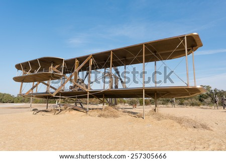 Feb 27th 2015: Wrights brothers national monument made with bronze for the first aviation in the history in Outer Banks, NC USA - stock photo