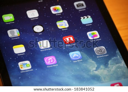 FEBRUARY 15, 2014 - BERLIN: Apps on the operating system of Apple: Apple Ipad, Berlin. - stock photo