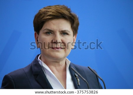 FEBRUARY 12, 2016 - BERLIN, GERMANY: Polish Prime Minister Beata Szydlo at a press conference after a meeting with the German Chancellor in the Federal Chanclery. - stock photo