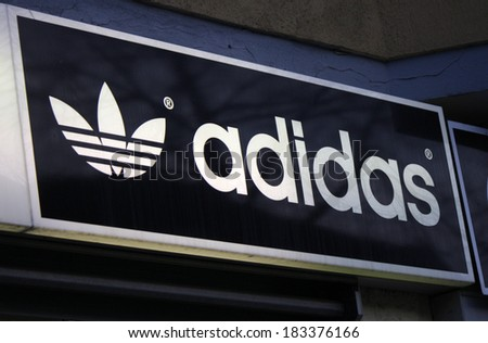 "FEBRUARY 15, 2014 - BERLIN: the logo of the brand ""Adidas"", Berlin."