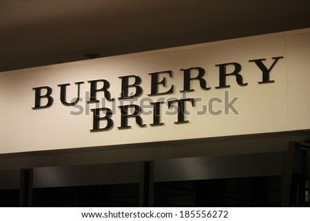 "FEBRUARY 26, 2014 - BERLIN: the logo of the brand ""Burberry Brit"", Berlin. - stock photo"