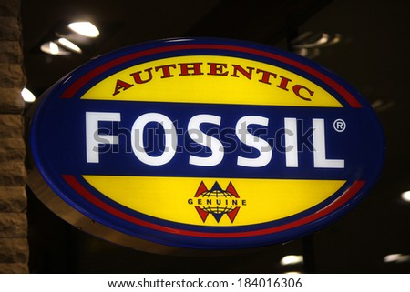"FEBRUARY 15, 2014 - BERLIN: the logo of the brand ""Fossil"", Berlin."
