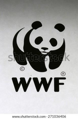 "FEBRUARY 2015 - BERLIN: the logo of the NGO ""WWF"", Berlin. - stock photo"