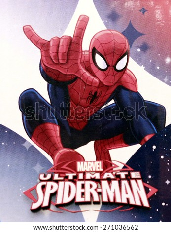 """FEBRUARY 2015 - BERLIN: the superhero figure """"Spiderman"""" on an electronic sign of a book store in the Prenzlauer Berg district of Berlin. - stock photo"""