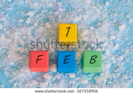 February 1 Calendar on color wooden cubes. Part of a set - stock photo