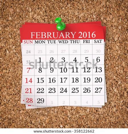 February 2016  Calendar on cork board , 3d render - stock photo
