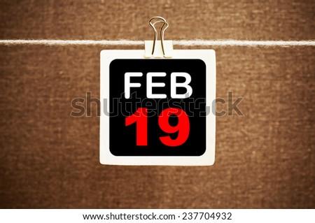 February 19 Calendar. Part of a set - stock photo