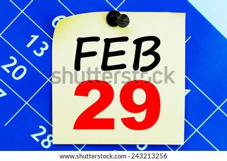 February 29 Calendar. Part of a set - stock photo
