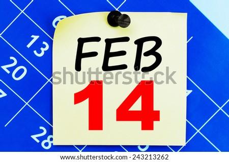 February 14 Calendar. Part of a set - stock photo