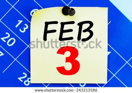 February 3 Calendar. Part of a set - stock photo
