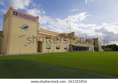 February 21, 2015. Early morning at the Doctors Hospital Training Facility on the campus of Nova Southeastern University, Home of the Miami Dolphins in Davie, Florida. - stock photo
