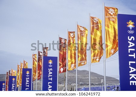 FEBRUARY 2005 - Flags at Olympic Square, near Delta during 2002 Winter Olympics, Salt Lake City, UT - stock photo