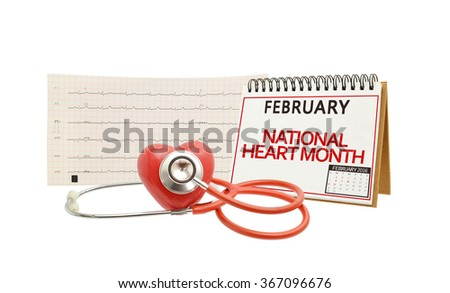 February Heart Month Calendar Stethoscope Electrocardiograph Isolated on white background - stock photo