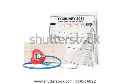 February National Heart Month Calendar Pages Turning Stethoscope on Red Heart with Electrocardiograph isolated on white background - stock photo
