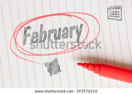 February sketch note with a red marker on paper - stock photo