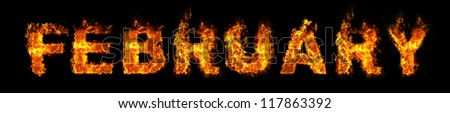 February text on fire - stock photo