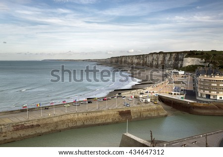 FECAMP, FRANCE - OCTOBER 2, 2012: Town and Ships in Port at Fecamp Normandy France