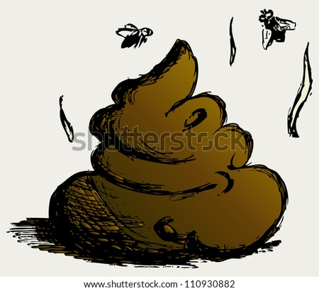 Feces cartoon. Raster - stock photo