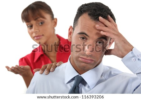 Fed up office worker - stock photo