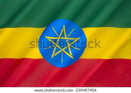 Federal Democratic Republic of Ethiopia - The current national flag and emblem were adopted after the defeat of Ethiopia's Marxist Derg regime (in power from 1974 to 1991).  - stock photo