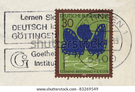 FEDERAL REPUBLIC OF GERMANY - CIRCA 1978: A stamp printed in the Federal Republic of Germany shows Clemens Brentano, circa 1978