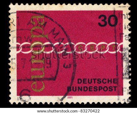 FEDERAL REPUBLIC OF GERMANY - CIRCA 1971: A stamp printed in the Federal Republic of Germany shows Europa, circa 1971
