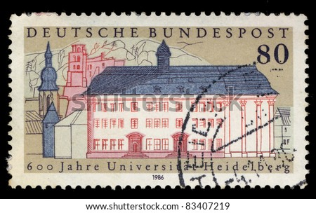 FEDERAL REPUBLIC OF GERMANY - CIRCA 1986: A stamp printed in the Federal Republic of Germany shows 600 Jahre Universit at Heidelberg, circa 1986