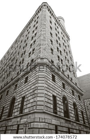 Federal Reserve Bank in New York City's financial district in downtown Manhattan.  In black and white. - stock photo