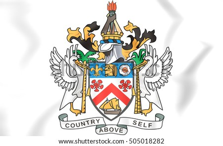 Federation of Saint Kitts and Nevis Coat of Arms. 3D Illustration.