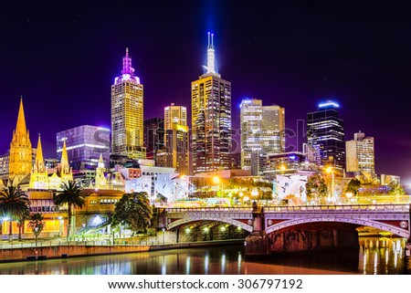 Federation Square and Melbourne City as seen from South Bank at night with all the city lights