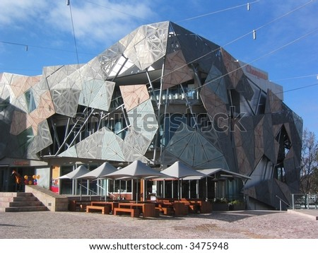 Federation square in the centre of Melbourne - stock photo
