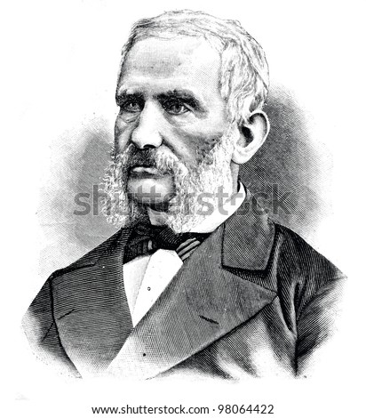 "Fedor Arnold - Russian scientist-forester, founder of Russian forest management. Engraving by  Shyubler. Published in magazine ""Niva"", publishing house A.F. Marx, St. Petersburg, Russia, 1888"