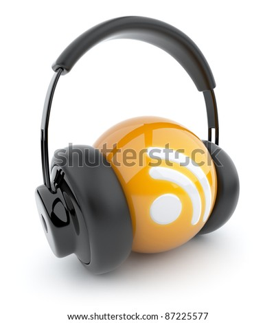 Feed or Rss icon 3D. Blog. Sphere witch audio headphones. Isolated on white - stock photo