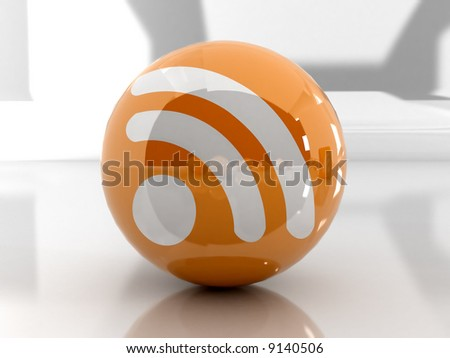 Feed or Rss icon, used in  internet transmision and  association with open web syndication formats such as RSS and Atom. 3D with reflect. - stock photo