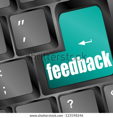 Feedback computer key showing opinion and surveys, raster - stock photo