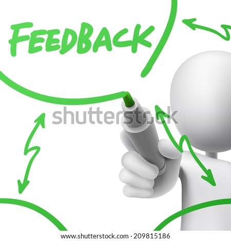 feedback concept drawn by a man over white background - stock photo