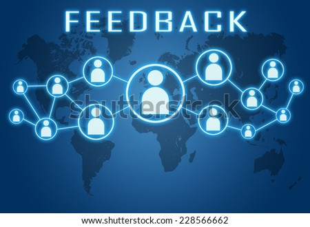 Feedback concept on blue background with world map and social icons. - stock photo