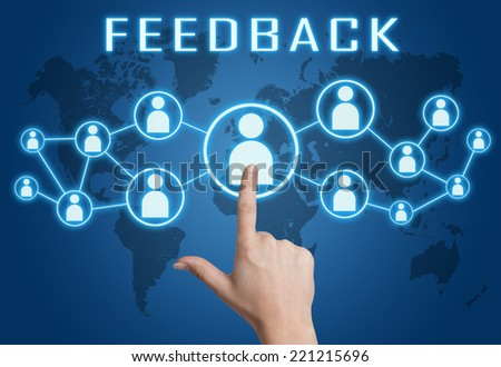 Feedback concept with hand pressing social icons on blue world map background. - stock photo