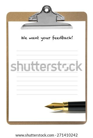 Feedback demand on a notepad with golden fountain pen - stock photo
