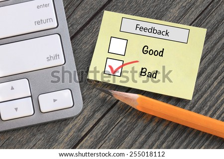 feedback in customer survey, showing bad experience - stock photo