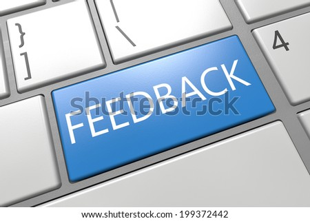 Feedback - keyboard 3d render illustration with word on blue key - stock photo