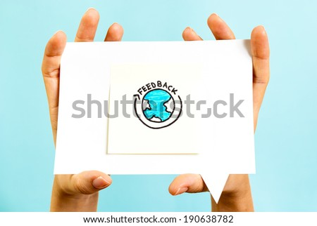 Feedback on the hands message - stock photo