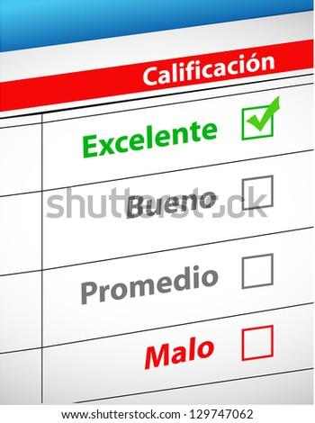 feedback selection concept in Spanish illustration design - stock photo