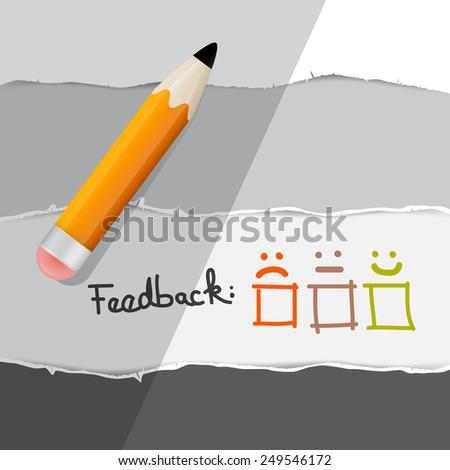 Feedback Symbols with Pencil - stock photo