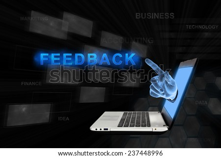 feedback word from laptop with digital background - stock photo