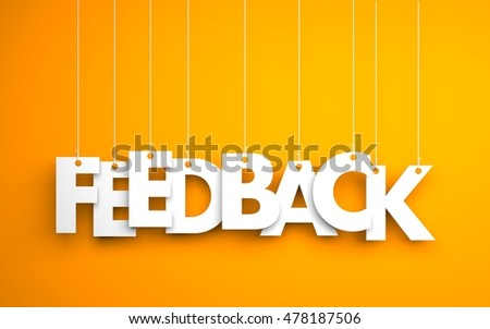 Feedback word - hanging on rope. Orange background. 3d illustration